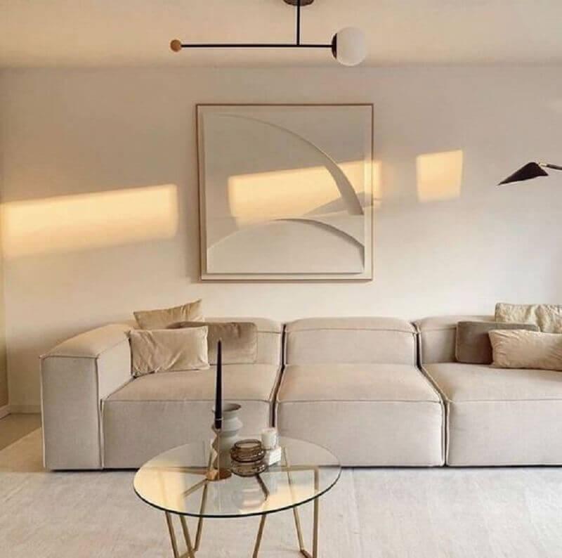decoração de sala minimalista em tons de bege Foto We Heart It