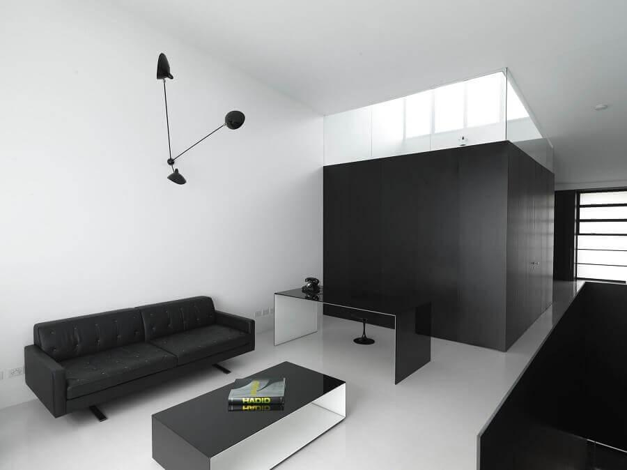 decoração de sala minimalista preta e branca Foto Decoredo