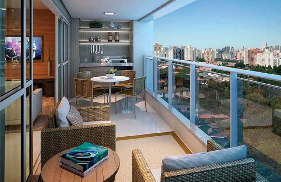 decoração de varanda de apartamento com móveis de fibras naturais Foto Pinterest