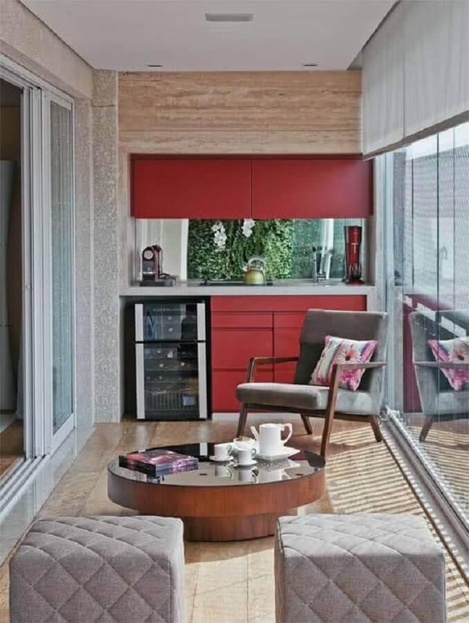 decoração de varanda de apartamento pequena com cantinho do café Foto Lolafá
