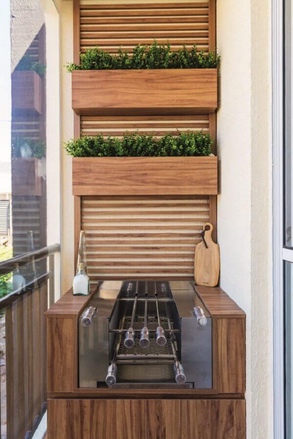 decoração de varanda pequena com churrasqueira planejada Foto Histórias de Casa