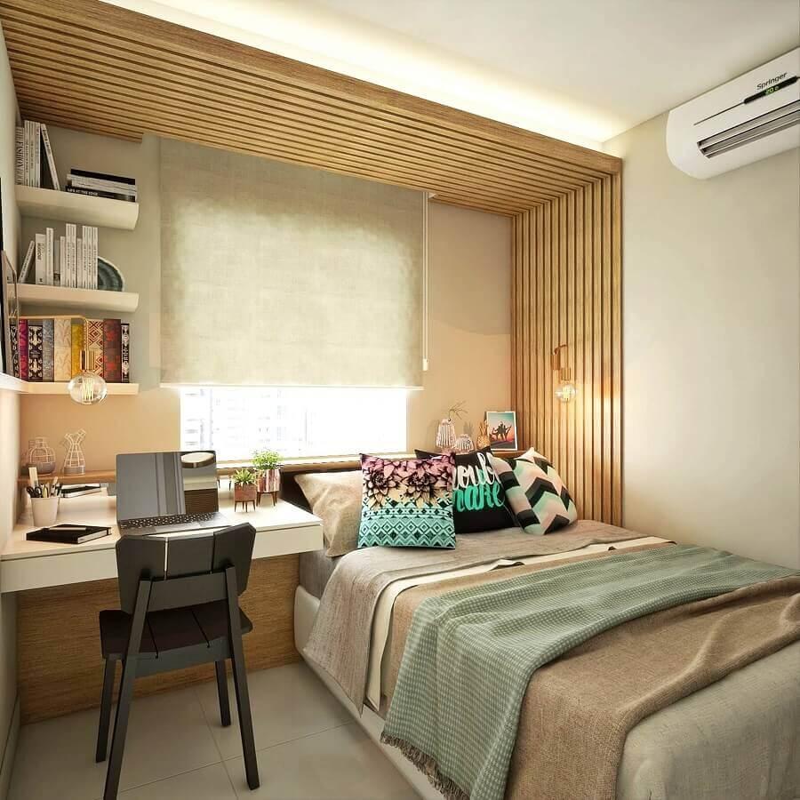 decoração em cores neutras para quarto de adolescente feminino pequeno  Foto Homify