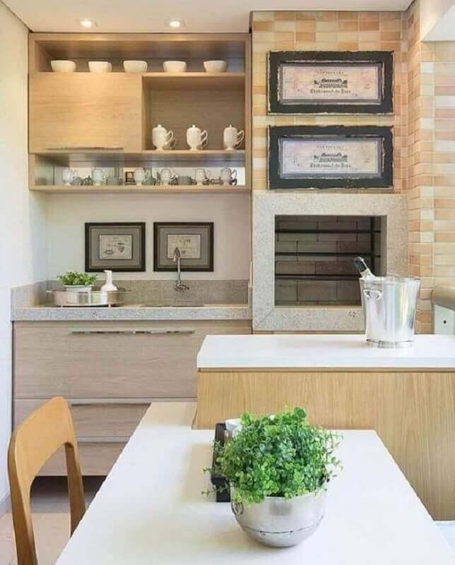 decoração em cores neutras para varanda gourmet pequena apartamento Foto Jeito de Casa