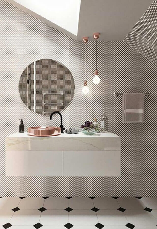 decoração minimalista com pendente para banheiro moderno Foto Home Fashion Trend