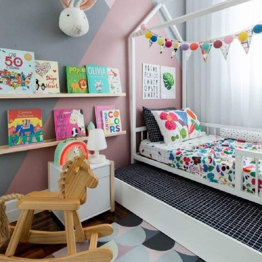 decoração para quarto de criança com bicama e parede geométrica Foto Dicas de Mulher