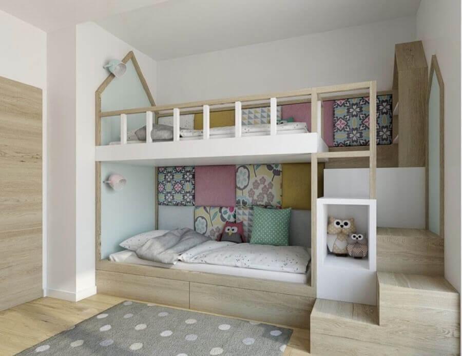 decoração para quarto de criança planejado com beliche Foto Eu Decoro