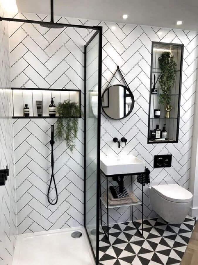 decoração preto e branco para banheiro com metro white Foto Arkpad