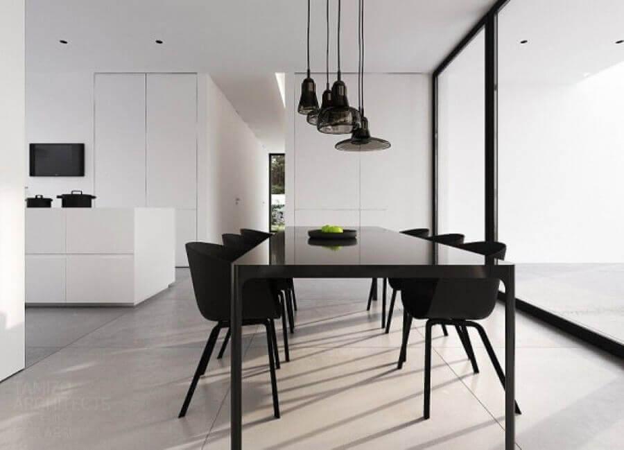 decoração preto e branco para sala de jantar minimalista moderna Foto Archilovers