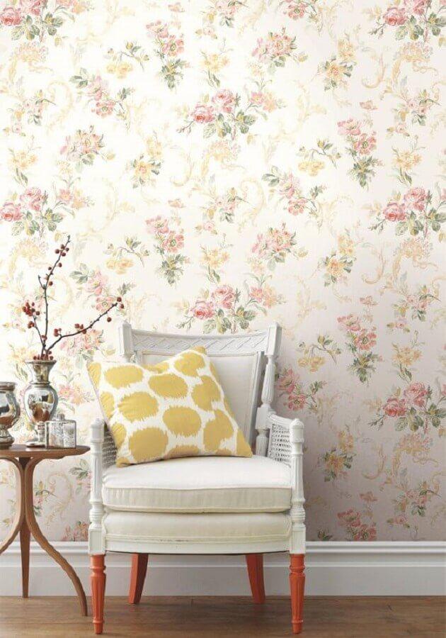 decoração simples com papel de parede floral romântico Foto Home Fashion Trend