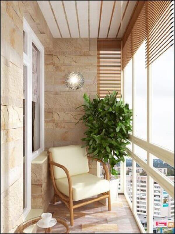 decoração simples com poltrona pequena para varanda Foto Pinterest