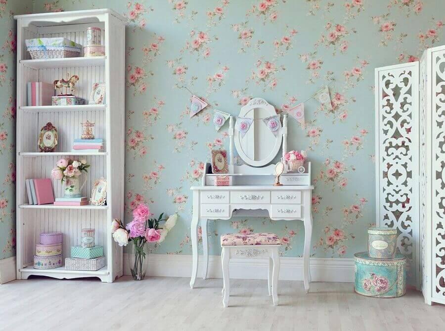 decoração vintage para quarto de menina com papel de parede romântico feminino floral Foto Yandex