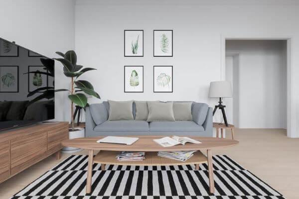 Sala de estar com tapete escandinavo