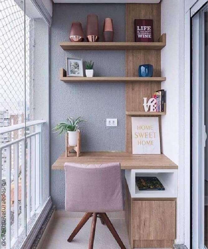 home office para varanda pequena planejada  Foto Pinterest