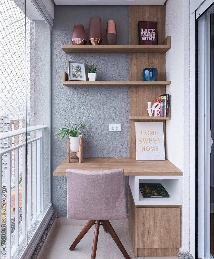 home office planejado para decoração de varanda de apartamento pequeno Foto Pinterest