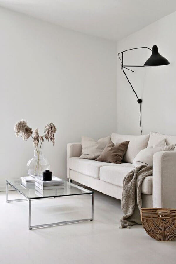 luminária moderna para decoração de sala minimalista simples com mesa de centro de vidro Foto Home Fashion Trend