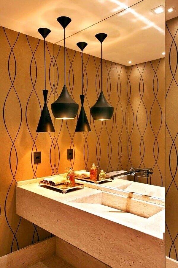 luminária pendente para banheiro sofisticado decorado com pia esculpida em mármore Foto Simples Decoração