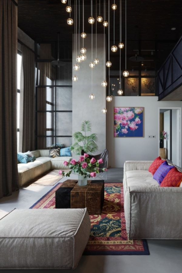 Pendente de cristal para sala de estar moderna