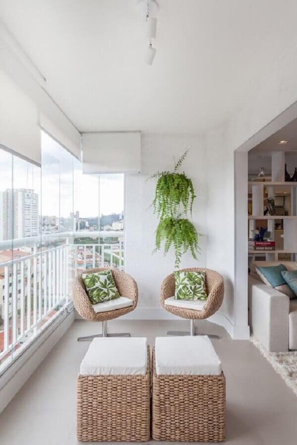 móveis de fibras naturais para decoração de varanda de apartamento Foto Homify