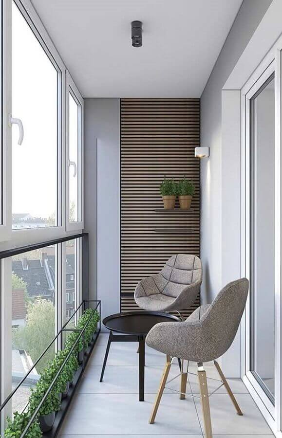 móveis para varanda pequena com decoração moderna Foto Pinterest