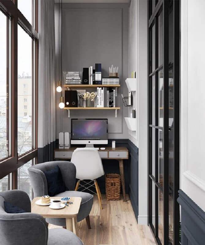móveis para varanda pequena moderna com home office Foto Behance