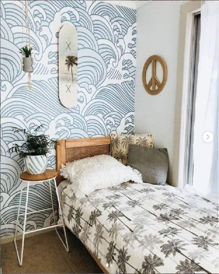 mesa de canto redonda para quarto de solteiro com decoração simples Foto Anewall Decor