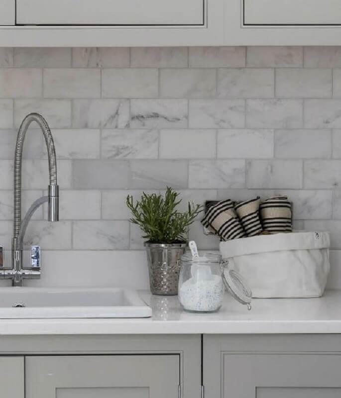 metro white marmorizado para decoração de cozinha planejada Foto Pinterest