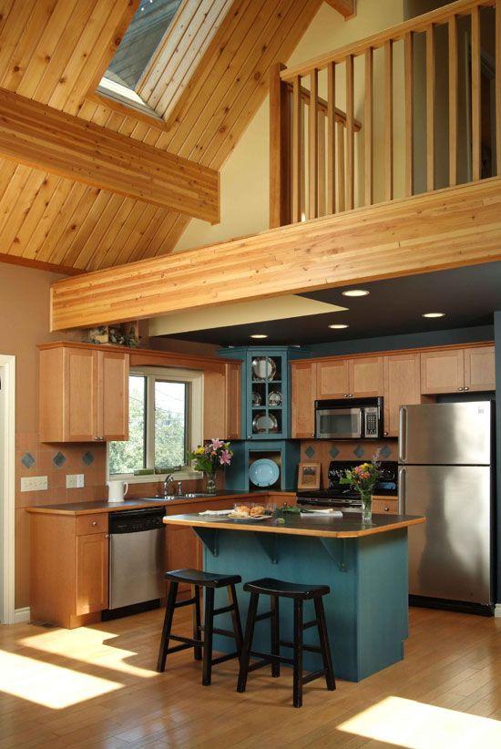 Mezanino de madeira na cozinha