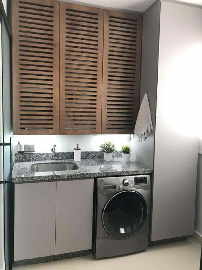 modelo de armário aéreo para lavanderia cinza  Foto Pinterest