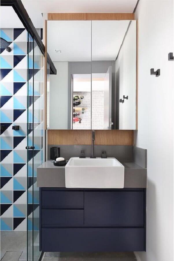 paleta de cores azul para decoração de banheiro pequeno moderno Foto Pinterest
