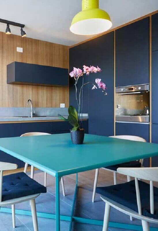 paleta de cores azul para decoração de cozinha moderna planejada Foto Jeito de Casa