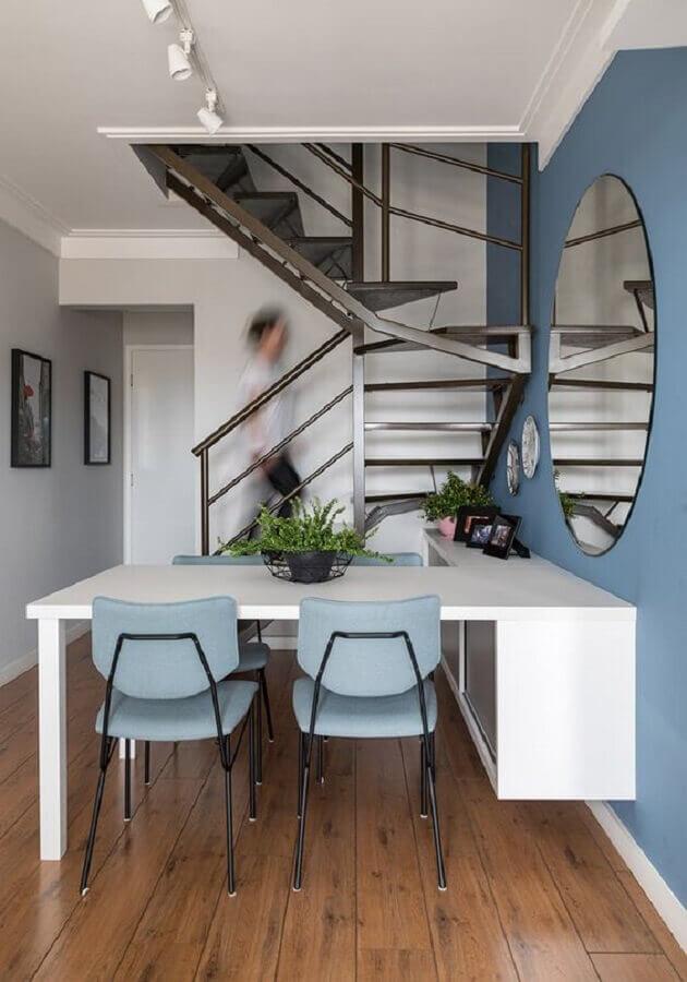 paleta de cores azul para sala de jantar pequena planejada  Foto Marina Carvalho - Arquitetura