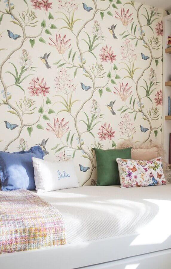 papel de parede floral romântico para decoração de quarto feminino Foto Pinterest