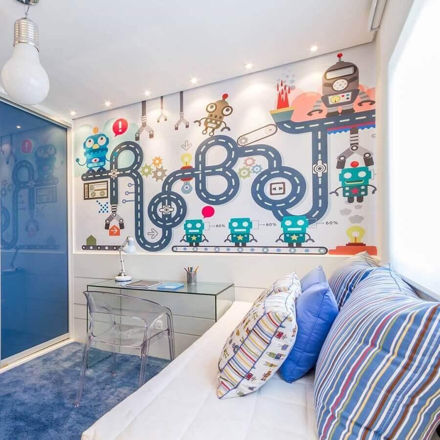papel de parede para quarto de criança com tema robôs para decoração azul e branca Foto Pinterest