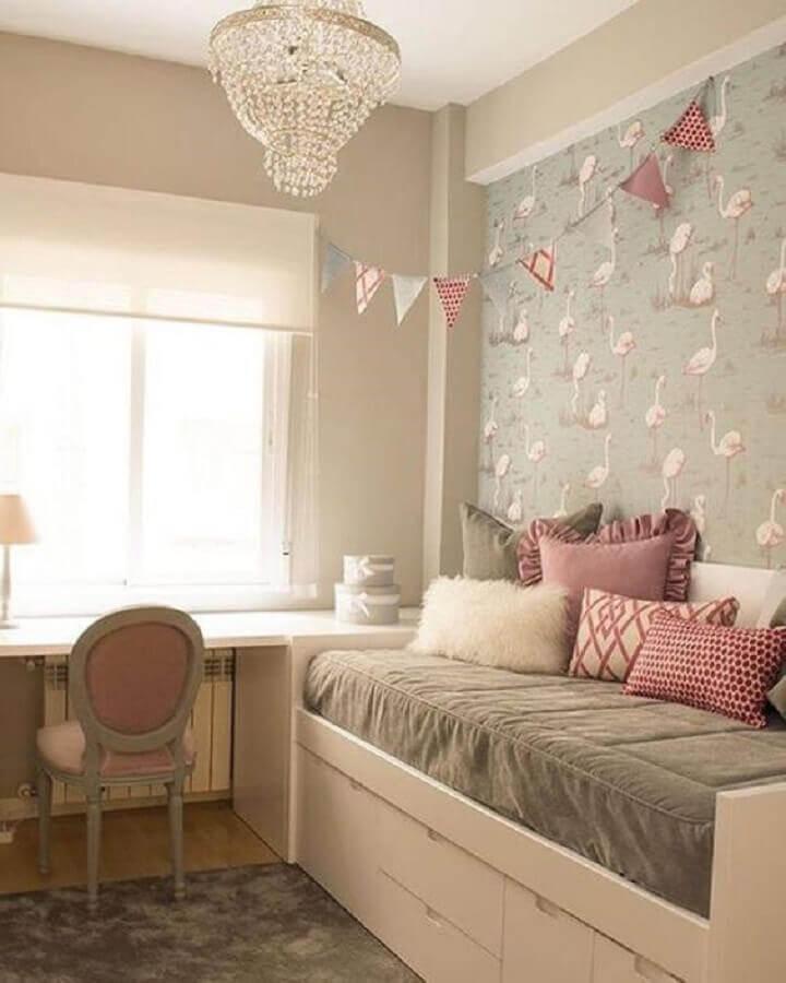 papel de parede para quarto decorado de adolescente feminino Foto Baú de Menina