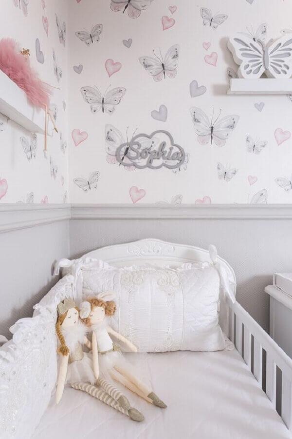 papel de parede romântico feminino para decoração de quarto de bebê Foto Lilibee