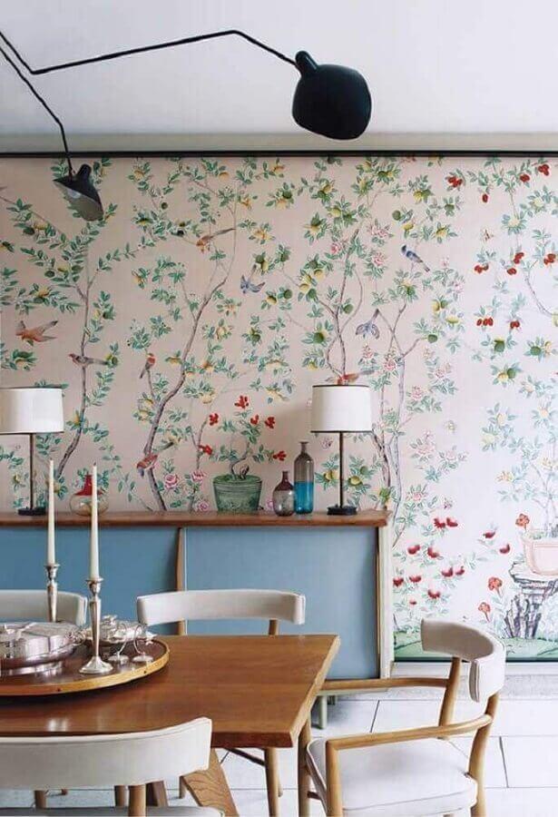 papel de parede romântico feminino para decoração de sala de jantar Foto Pinterest