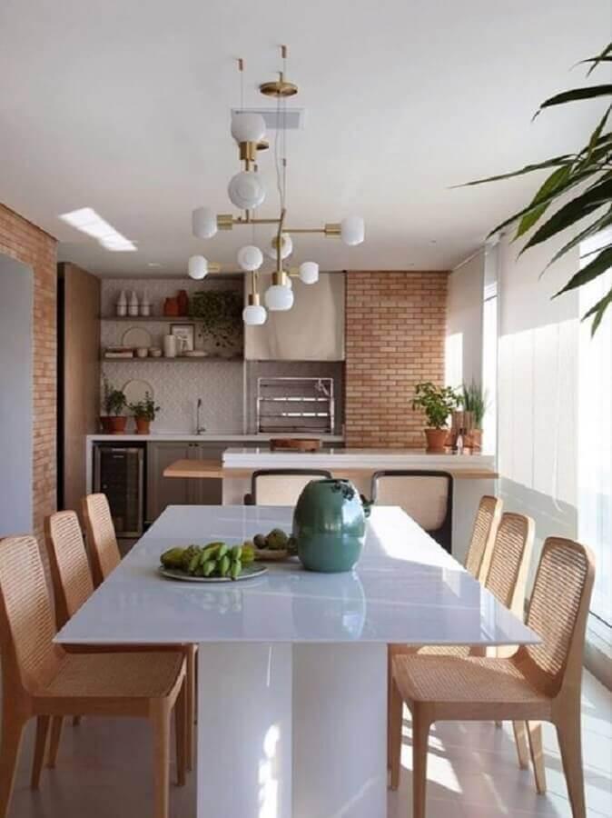 parede de tijolinho para decoração de varanda de apartamento gourmet Foto Cristiana Bertolucci Estúdio