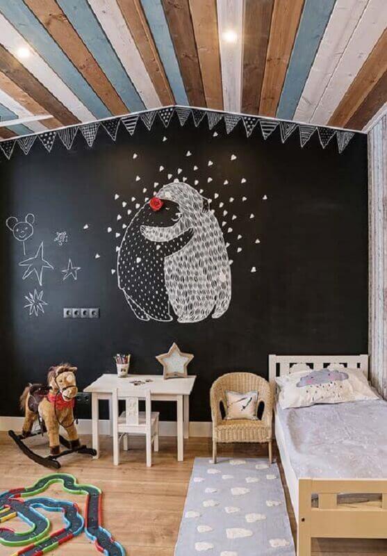 parede de tinta lousa para decoração simples de quarto para criança Foto Pinterest