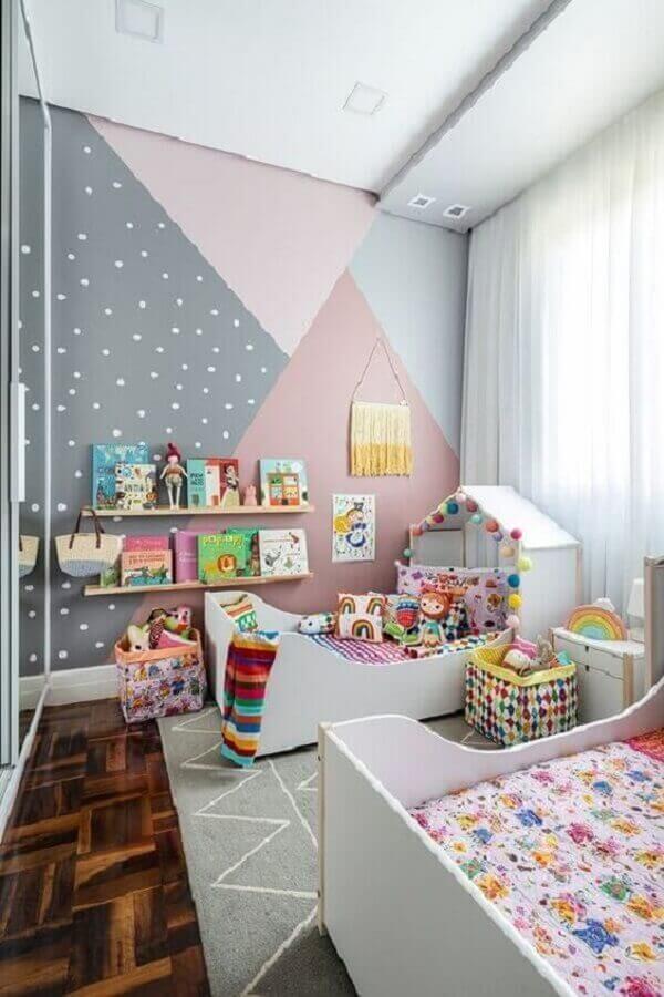 parede geométrica para decoração de quarto para criança colorido Foto Pinterest