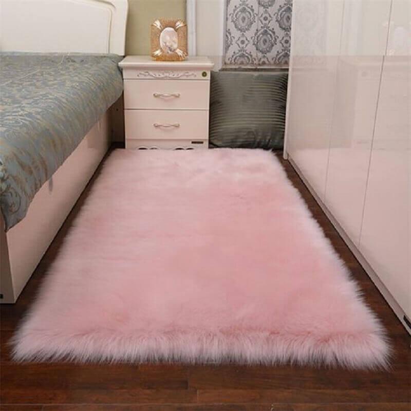 passadeira felpuda cor de rosa para quarto decorado Foto Pinterest