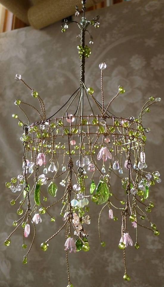 Pendente de cristal com flores