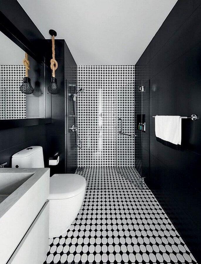 pendente para banheiro decorado preto e branco Foto Conexão Decor