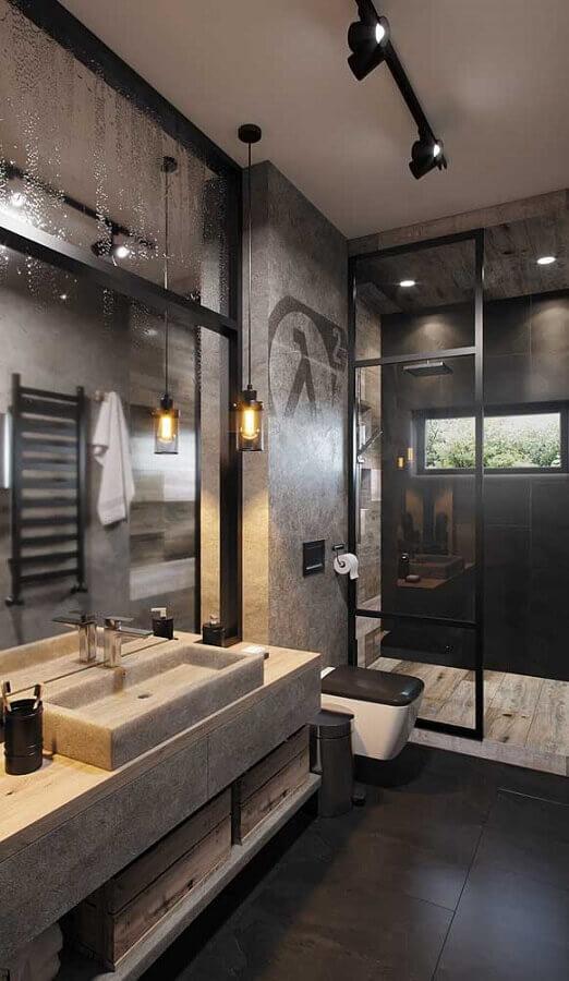 pendente para banheiro moderno cinza e preto decorado com parede de cimento queimado Foto Pinterest