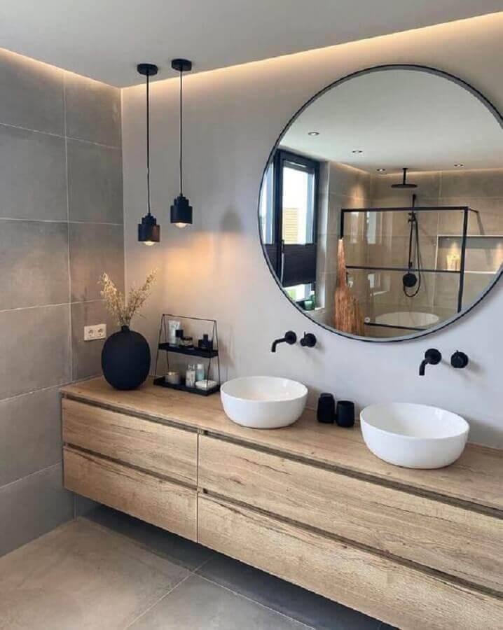 pendente para banheiro moderno decorado com gabinete de madeira suspenso Foto Fashion Bubbles