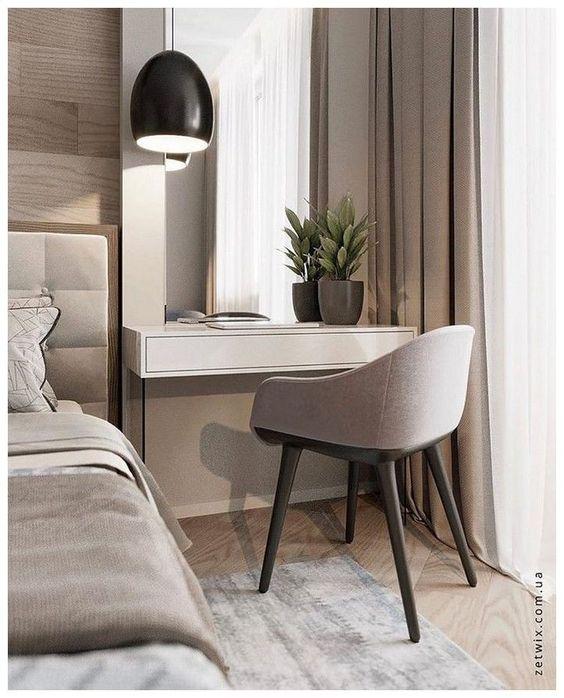 Cadeira para penteadeira pequena no quarto
