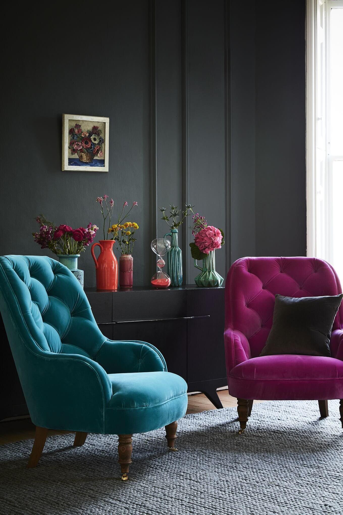 Poltrona capitonê azul e roxo
