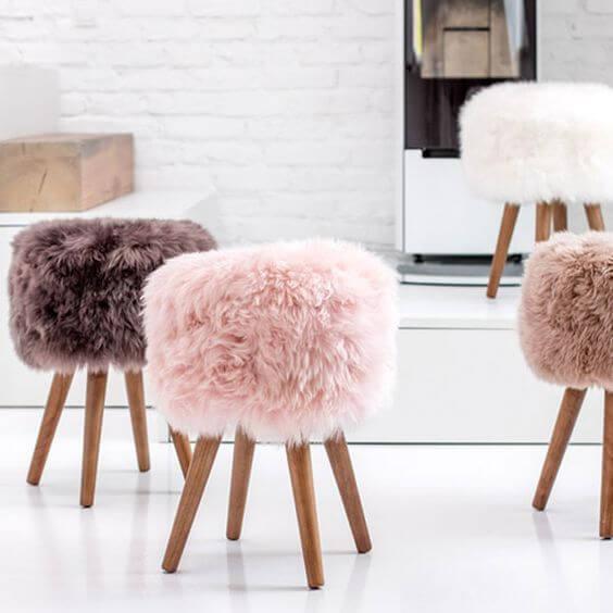 Puff pelúcia rosa claro