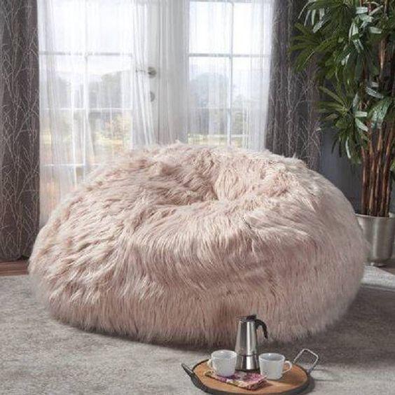 Puff pelúcia gigante cor de rosa