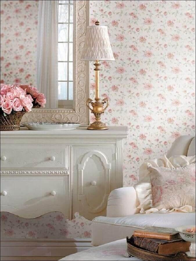 quarto branco clássico decorado com papel de parede floral romântico Foto Etsy