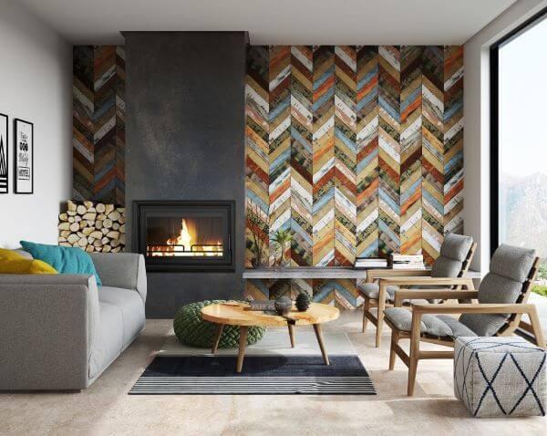 A sala também pode contar com o revestimento geométrico em diferentes cores